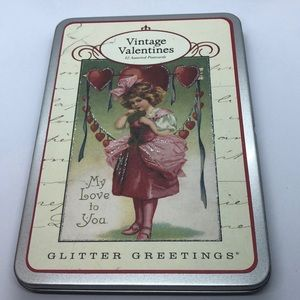 VTG Valentines 7 Assorted Glitter Greetings Cards